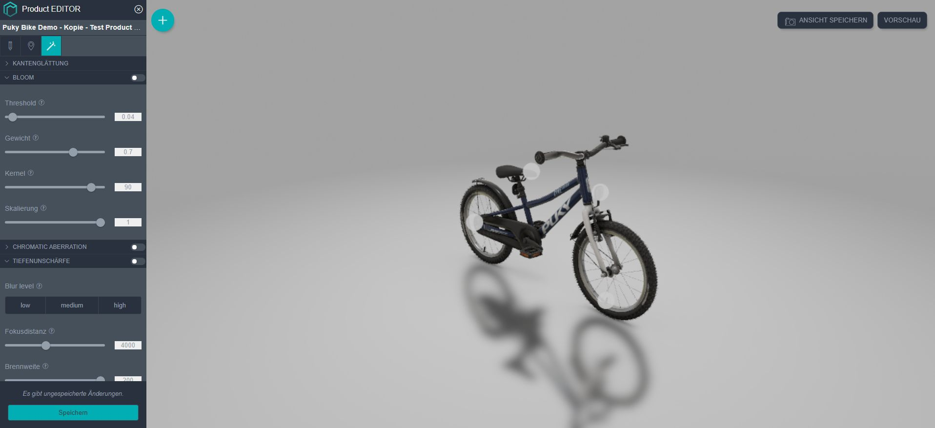 Puky Bike in rooom 3D product viewer