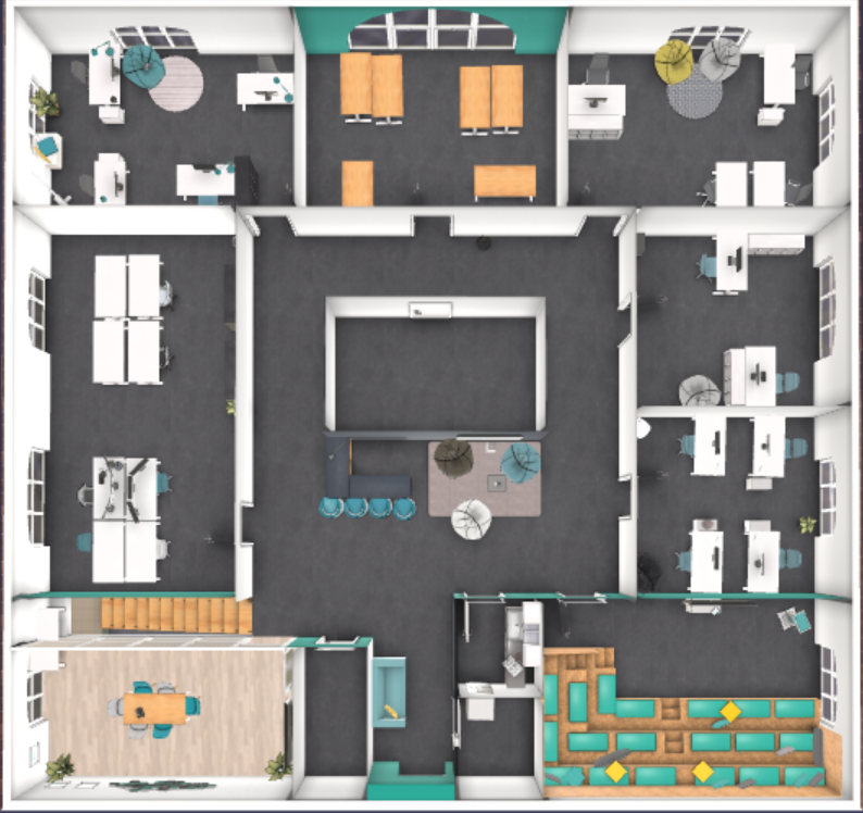 Top view of virtual office