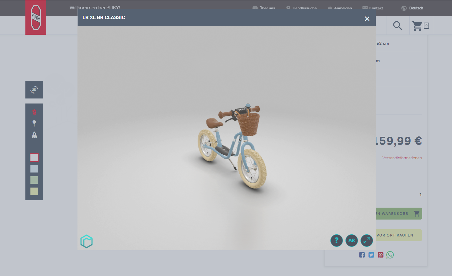 rooom 3D Product Viewer in PUKY Shop